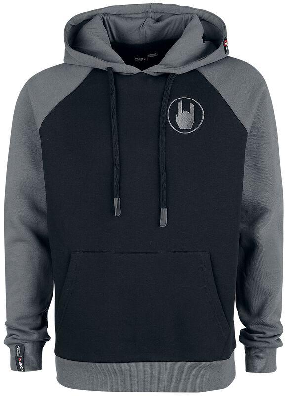 Grey/Black Hoodie with Raglan Sleeves and Embroidery
