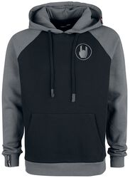 Grey/Black Hoodie with Raglan Sleeves and Embroidery
