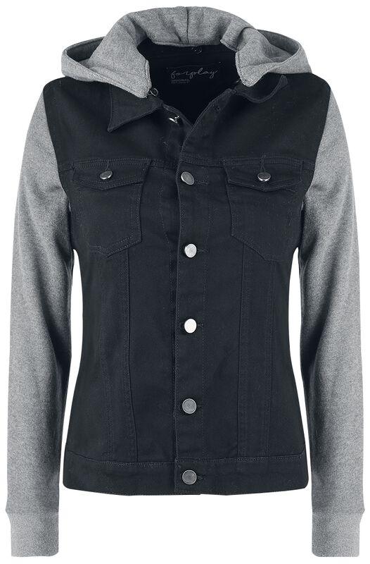 Ladies Sweat Sleeved Hooded Denim Vest