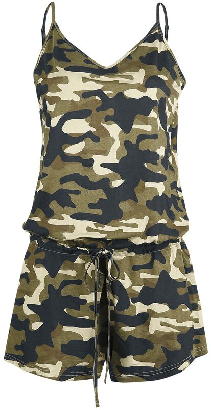 Short Green Jumpsuit with Camouflage Pattern