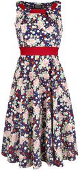 Navy Dot Floral Sleeveless Swing Dress