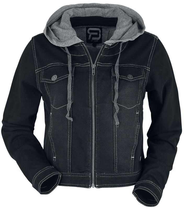 Black Denim Jacket with Sweat Hood