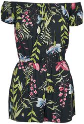 Ladies Black Flower Off-Shoulder Short Jumpsuit