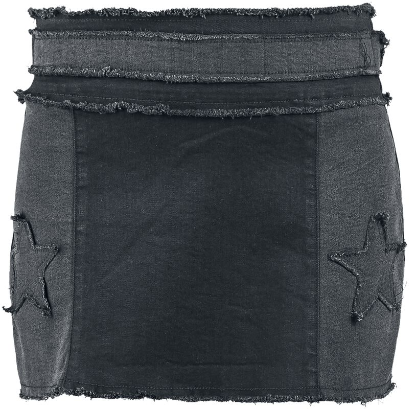 Rock Rebel Short Denim Skirt with Patches