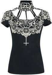 Schwarzes T-Shirt mit besonderem Ausschnitt und Print