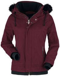 Burgundy Jacket with Faux Fur Collar and Hood