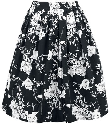 Belsira Flared Retro Skirt with Floral Pattern