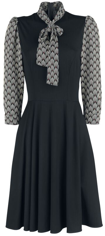 Bettie Black Art Deco Print Inspired Dress