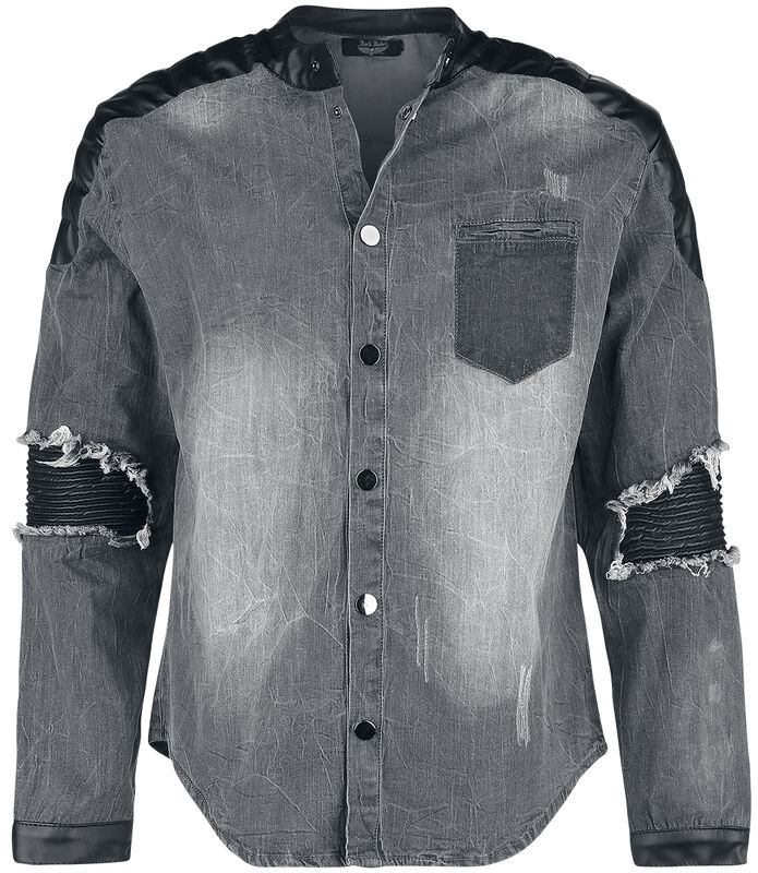 Denim shirt with used-look and biker details