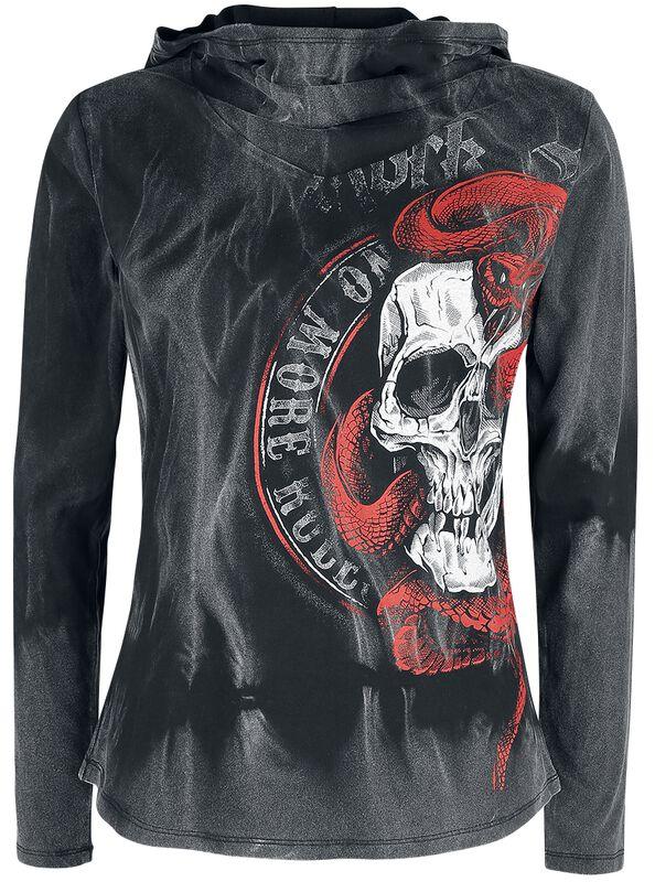 Long-Sleeve Shirt with Hood and Skull Print