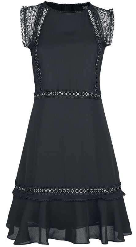 Black Dress with Eyelets and Lace Details