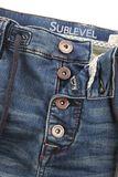 Button Fly Sweat Denim Optik Bermuda