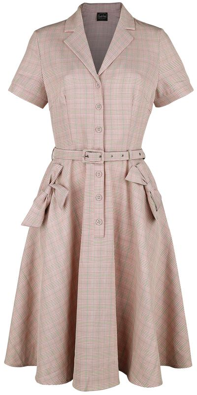 Kenzy Plaid Bow Pocket Button-Up Flare Dress