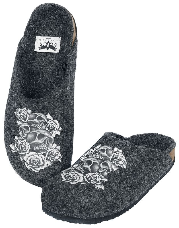 Grey Slippers with Skull and Rose Print