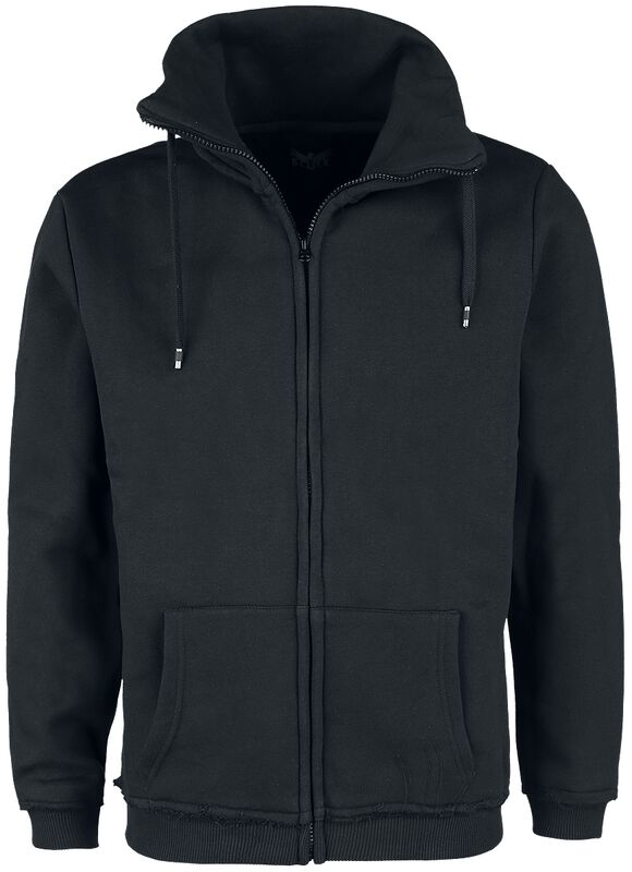 Black Sweatshirt Jacket with Standing Collar