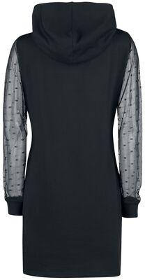 Black Dots Shawl Hooded Dress