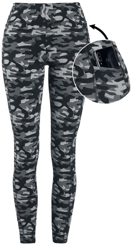 Grey Camo Leggings with Side Pockets