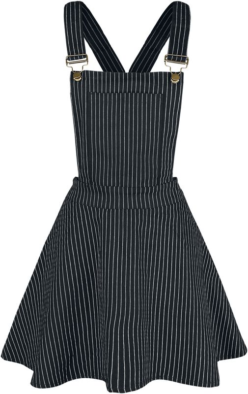 Over It All Pinstripe Overall Dress