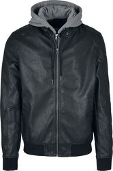 Fleece Hooded Fake Leather Jacket