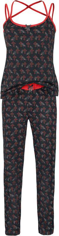 Gothicana X Anne Stokes - Schwarzer Pyjama mit Print inklusive Tuch