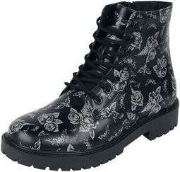 Black lace-up boots with rose and moth print