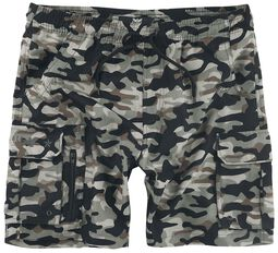swim shorts with camouflage pattern and pockets