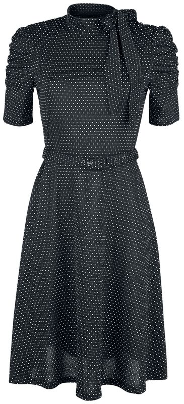 Posie Black Polka Dot Tie-neck Dress