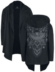 Sport and Yoga - Black Cardigan with Detailed Back Print and Hood