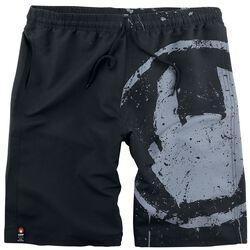 Black Swim Shorts with Rockhand Print