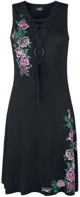 Dress with Floral Print and Lacing