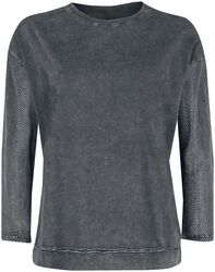 Grey Long-Sleeve Top with Transparent Sleeves