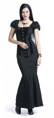 Black Maxi Skirt with Lacing and Mermaid Cut