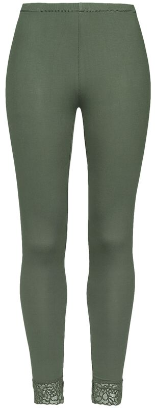 Green Leggings with Lace Seam Black Premium
