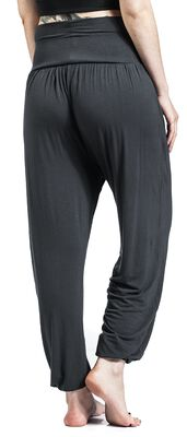Sport und Yoga - graue Stoffhose mit hohem Bund