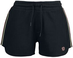RED X CHIEMSEE - Black Shorts with Logo Print