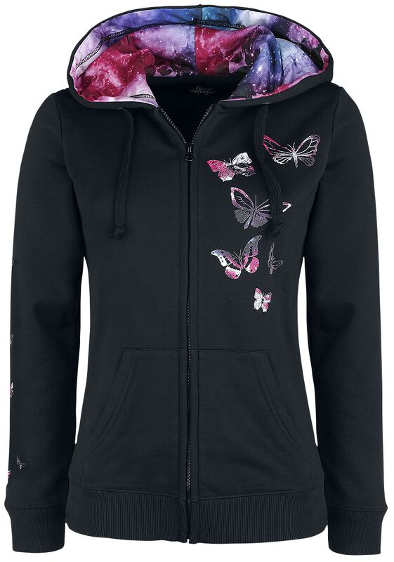 Black Hooded Jacket with Butterfly Print