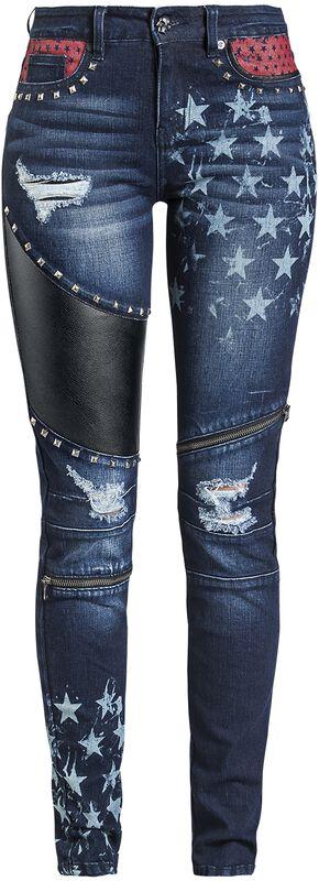 Skarlett - Dark-Blue Jeans with Prints and Details