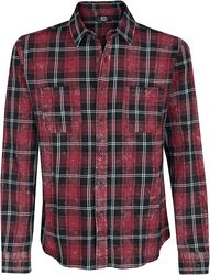 Check shirt with light washing