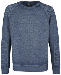 Marbled sweatshirt with decorative seams