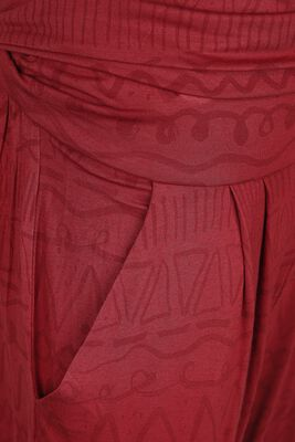 Sport and Yoga - Red Fabric Trousers with All-Over Print