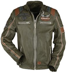 Rock Rebel X Route 66 - Green Leather Jacket with Contrasting-Coloured Details