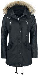 Ladies Imitation Leather Sleeve Parka