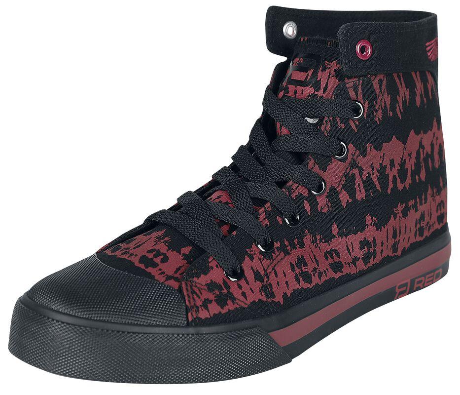 Red/Black Batik-Look Sneakers