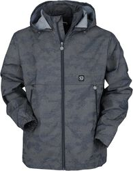 Between-seasons jacket with reflective camouflage design