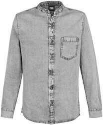 Stand-Up Collar Denim Shirt