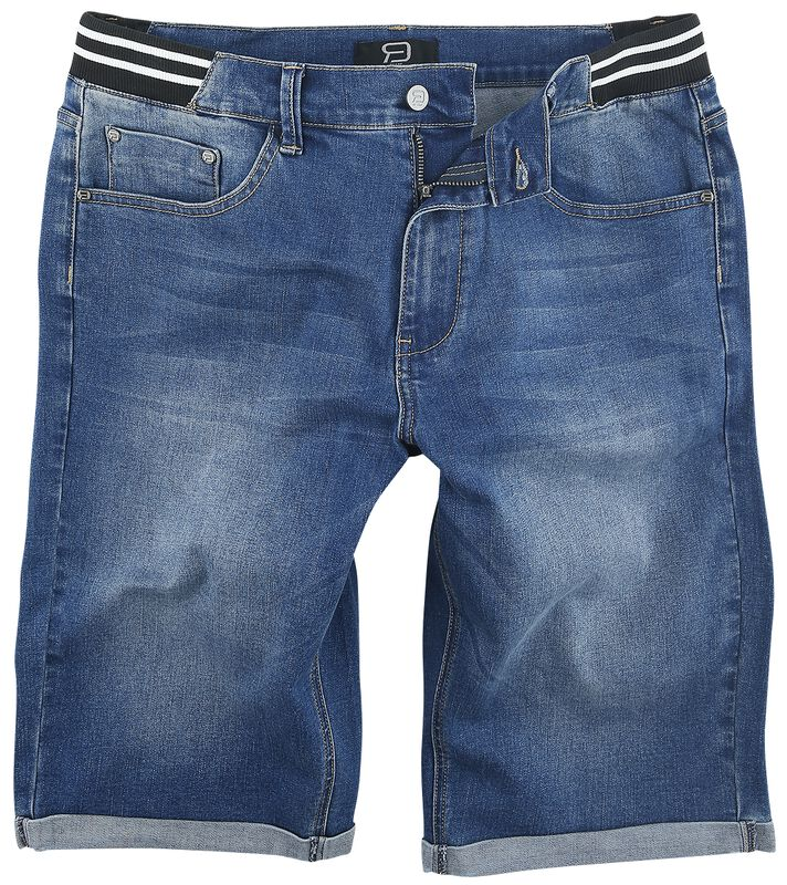 Blue Denim Shorts with Striped Waistband