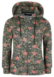 Green Camouflage Hooded Jacket with Stars