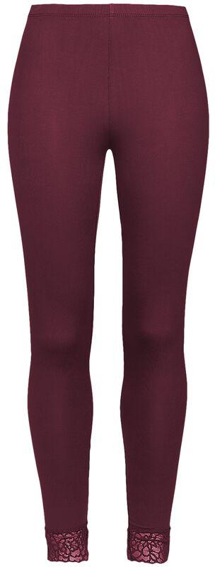 Red Leggings with Lace Seam Black Premium