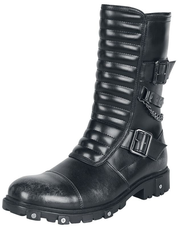 Black Boots with Quilting on Shaft and Buckles