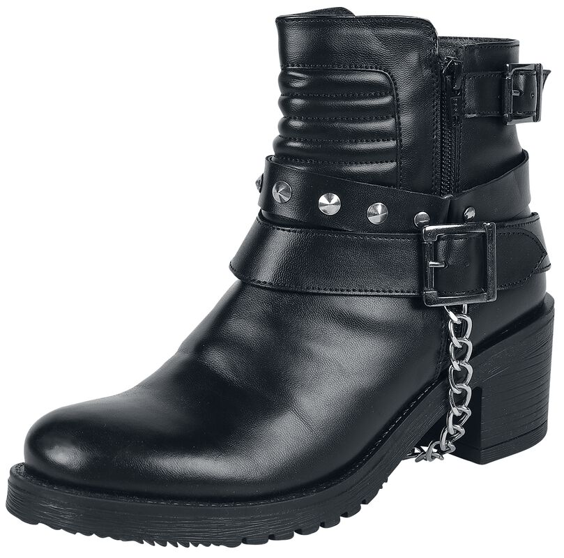 Black Boots with Quilting on the Shaft, Buckles and Decorative Chain